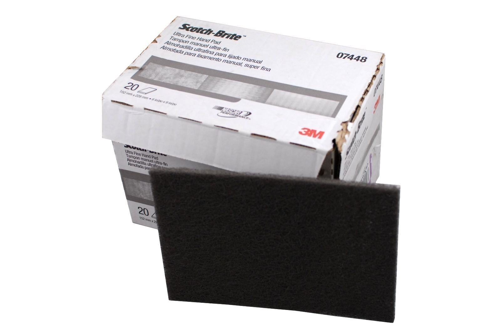 3M HP-HP Scotch-Brite Hand Pad - Ultra Fine Grade 6 in Width x 9 in Length - 7448[PRICE is per BOX]