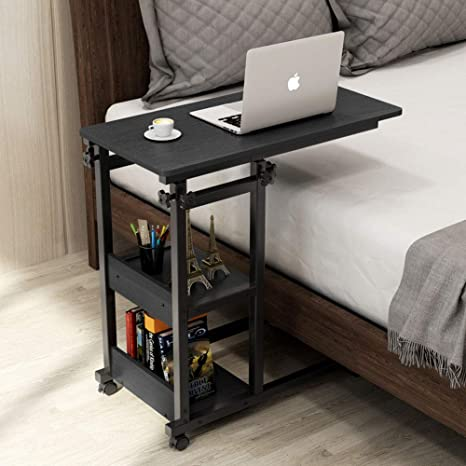 Tribesigns Snack Side Table, Mobile End Table Height Adjustable Bedside Table Laptop Rolling Cart C Shaped TV Tray with Storage Shelves for Sofa Couch ...