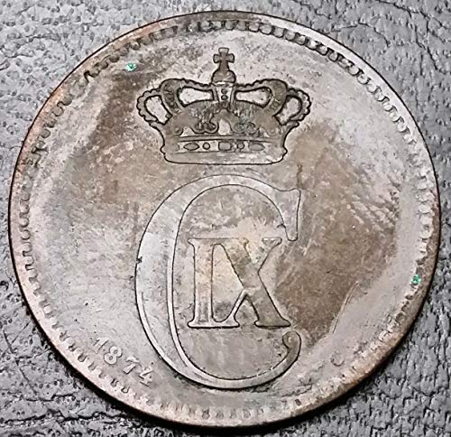 Unbranded 1874 Denmark 5 ORE Bronze Coin Great Condition
