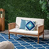 Great Deal Furniture Grace Outdoor Acacia Wood Loveseat, Brown Patina Finish and Cream