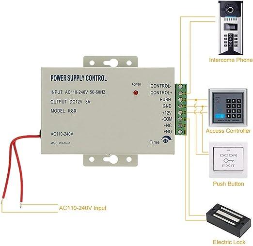 OWSOO AC110-240V a DC12V 3A Fuente de Alimentaci/ón para el Sistema de Control de Acceso de Puerta Fuente de Alimentaci/ón