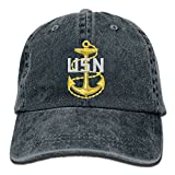 Andwoor US Navy Chief Petty Officer Cotton Adjustable Washed Twill Baseball Cap Hat