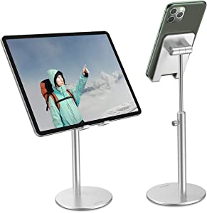 Cell Phone Stand, OMOTON Angle Height Adjustable Phone Stand, Aluminum Desktop Phone Holder Dock Stand for Desk, Compatible with iPhone 11/Xr/Xs Max, All Smartphones and All Tablets(4-12.9''), Silver