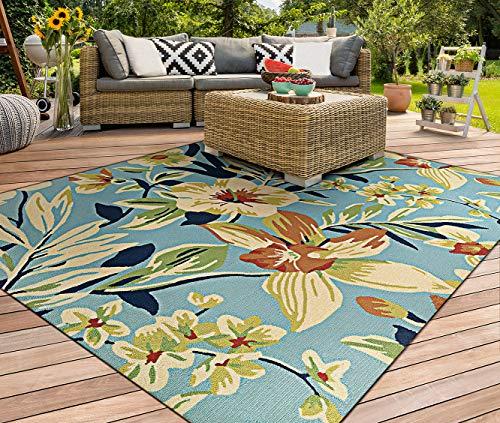 (Couristan Covington Whimsical Garden Powder Blue Indoor/Outdoor Area Rug, 2' x 4')