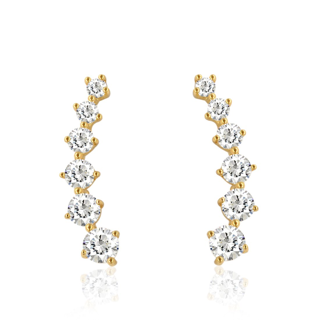 10K Gold Ear Crawler/ Climber Cuff CZ Earrings