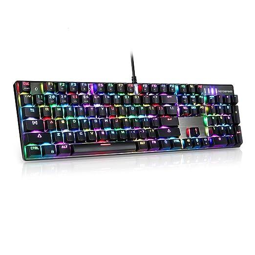Motospeed CK104 Teclado mecánico con interruptores Azules, LED RGB retroiluminado 104 Teclas Gaming USB con 9 Tipos de luz 50 Millones de pulsaciones para ...