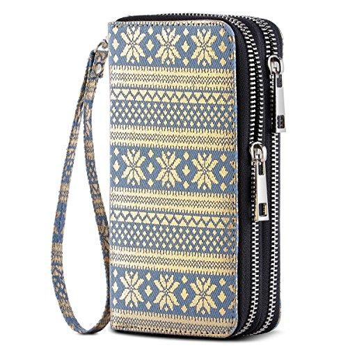 - HAWEE Cellphone Wallet Dual Zipper Wristlet Purse with Credit Card Case/Coin Pouch/Smart Phone Pocket Soft Leather for Women or Lady, Blue-Gold Snowflake