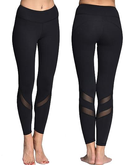 6347da4b59957 Chikool Mesh Yoga Leggings for Women Black Workout Capri Pants with Pocket