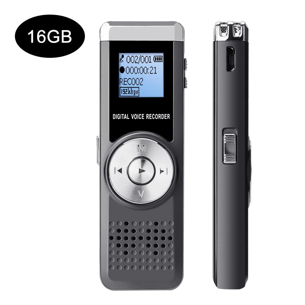 SKMOO Digital Voice Recorder 16GB Voice Device Audio Sound Activated Recorder USB Rechargeable Mini Recording Microphone Dictaphone Voice Recorder for Lectures Meetings with MP3 Player