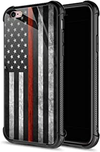 iPhone 6S Plus Case,9H Tempered Glass iPhone 6 Plus Cases for Boys Men, Black and red American Flag Pattern Design Shockproof Anti-Scratch Case for Apple iPhone 6/6S Plus 5.5 inch Black Red Flag