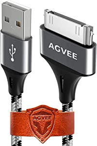 Agvee Unbreakable Nylon Braided [3 Pack 10ft] 30 Pin Heavy Duty Fast Charger Cable, Slim Metal Shell End Case Friendly Charging Data Cord for iPhone 4/4S, iPad 1/2/3, iPod, Gray