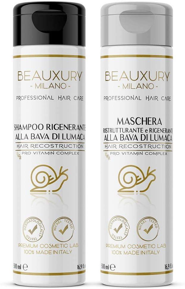 Set regenerador y reparador para cabello y cuero cabelludo | Champú y Mascarilla Ultra Repair 500+500 ML con Baba de Caracol + Keratina + Pro ...