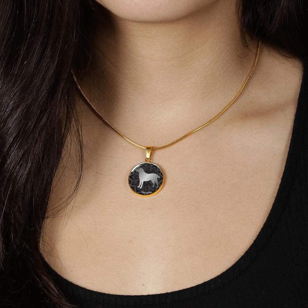 DuFauna Black Labrador Silhouette Necklace D18 Steel or 18k Gold Finish 18-22 Many Colors