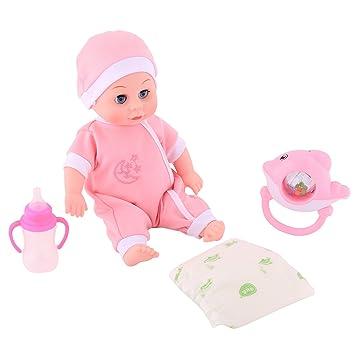Smibie Muñeca de Silicona Suave de 30CM Muñeco Bebé Realista en Ropa Rosa con Biberón Pañales