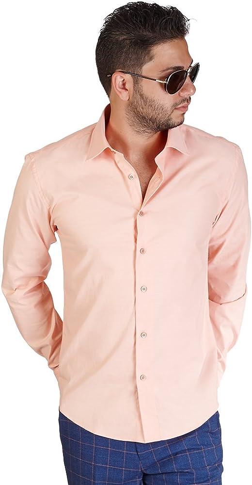 New para hombre camisa naranja corte slim fit Antiarrugas algodón por azar Man: Amazon.es: Ropa y accesorios