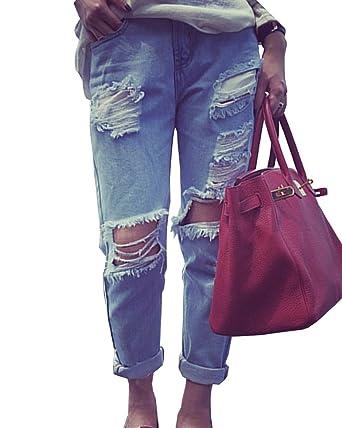 Mujeres Distressed Vaqueros Pantalones Mezclilla Denim Jeans ...