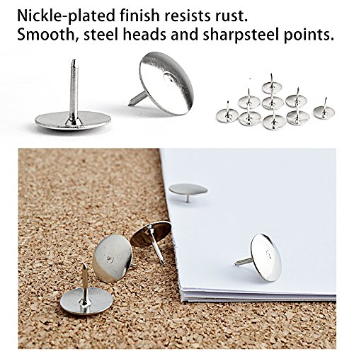 Steel Thumb Tack, Thumb Tacks Push Pins Silver Round Head Pins Office Thumbtack, Push Pin for Home, School, Sharp Steel Points 3/8 Inch Head, Silver, Box of 300 Photo #5