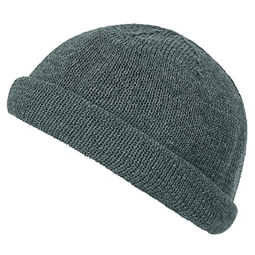 Soft Color Short Cotton Grey Knitted Hat ililily Casual Cap Beanie Vintage Solid Dark Ca0cq6