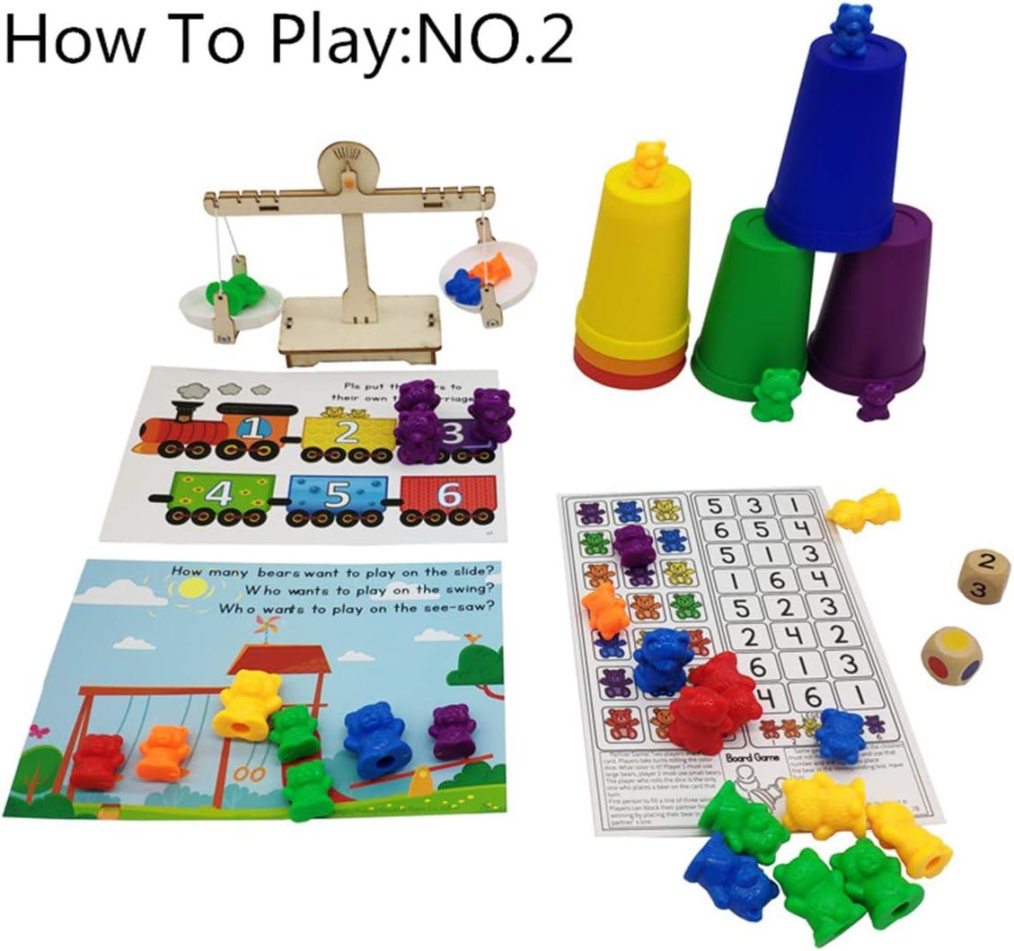 Montessori Rainbow Matching Game qingqingR Orsi di conteggio Perfetti con Set di Tazze impilabili