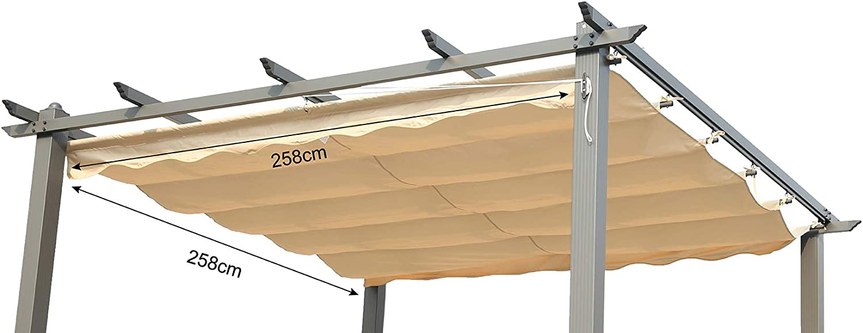 Angel Living Recambio de Top Roof de Poliéster para 3X3m Pérgola, Techo Retráctil a Prueba de Humedad, la Medida de la Lona es 258 x 258 cm (sin el Marco Metal): Amazon.es: