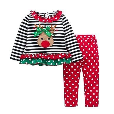 Nevera Toddler Baby Girls Long Sleeve Princess Deer Striped 100% CottonTops+Pants Dress Christmas