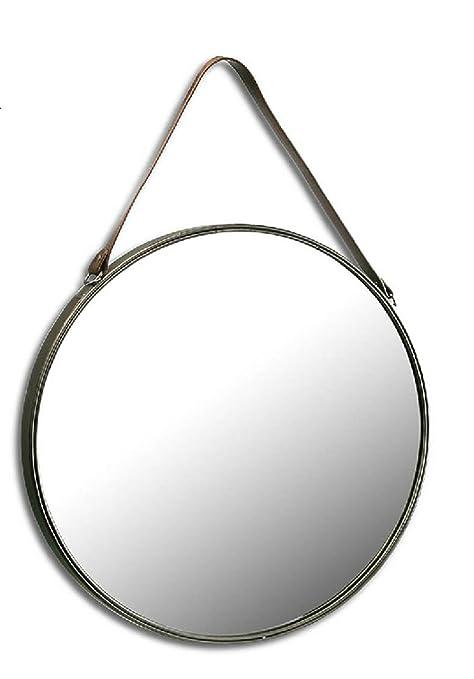 Specchio Tondo Da Parete.Txt Specchio Tondo Da Parete Con Cinta Di Cuoio Diametro 55 Cm