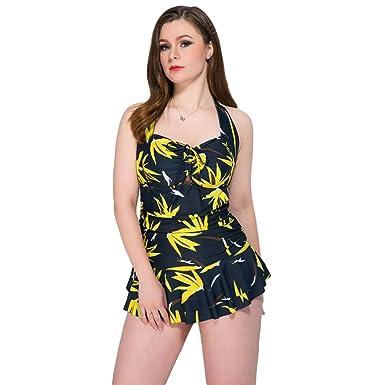 93be57c21cf60 Baymate Damen Plus Größe Retro Einteiliger Badekleid Blumendruck Badeanzug  mit Röckchen: Amazon.de: Bekleidung