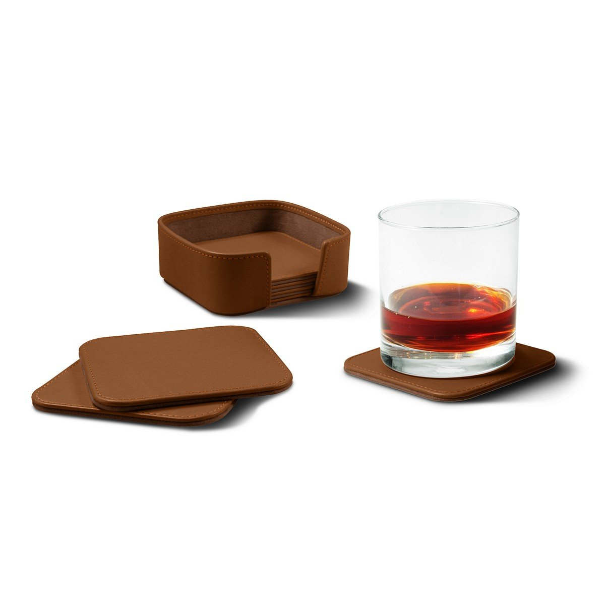 Lucrin - Set of 6 Square Genuine Leather Coasters with Coaster Holder - Tan - Smooth Leather