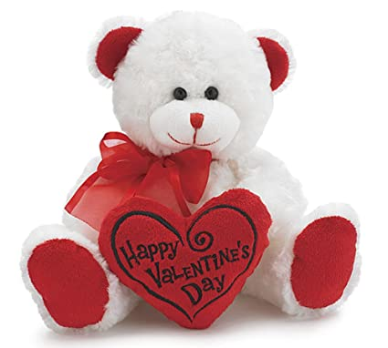 Amazon Com White Red Happy Valentines Day Plush Teddy Bear