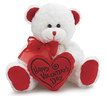 amazon com white red happy valentines day plush teddy bear