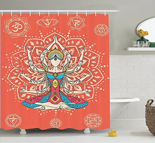 Vipsung Shower Curtain Set by Vipsung Yoga Technique with Ethnic Costume Insignia Zen Discipline Your Body and Mind Artprint Bathroom Accessories es Extralong Cream Red Teal (Comedy Of Errors Costume Design)