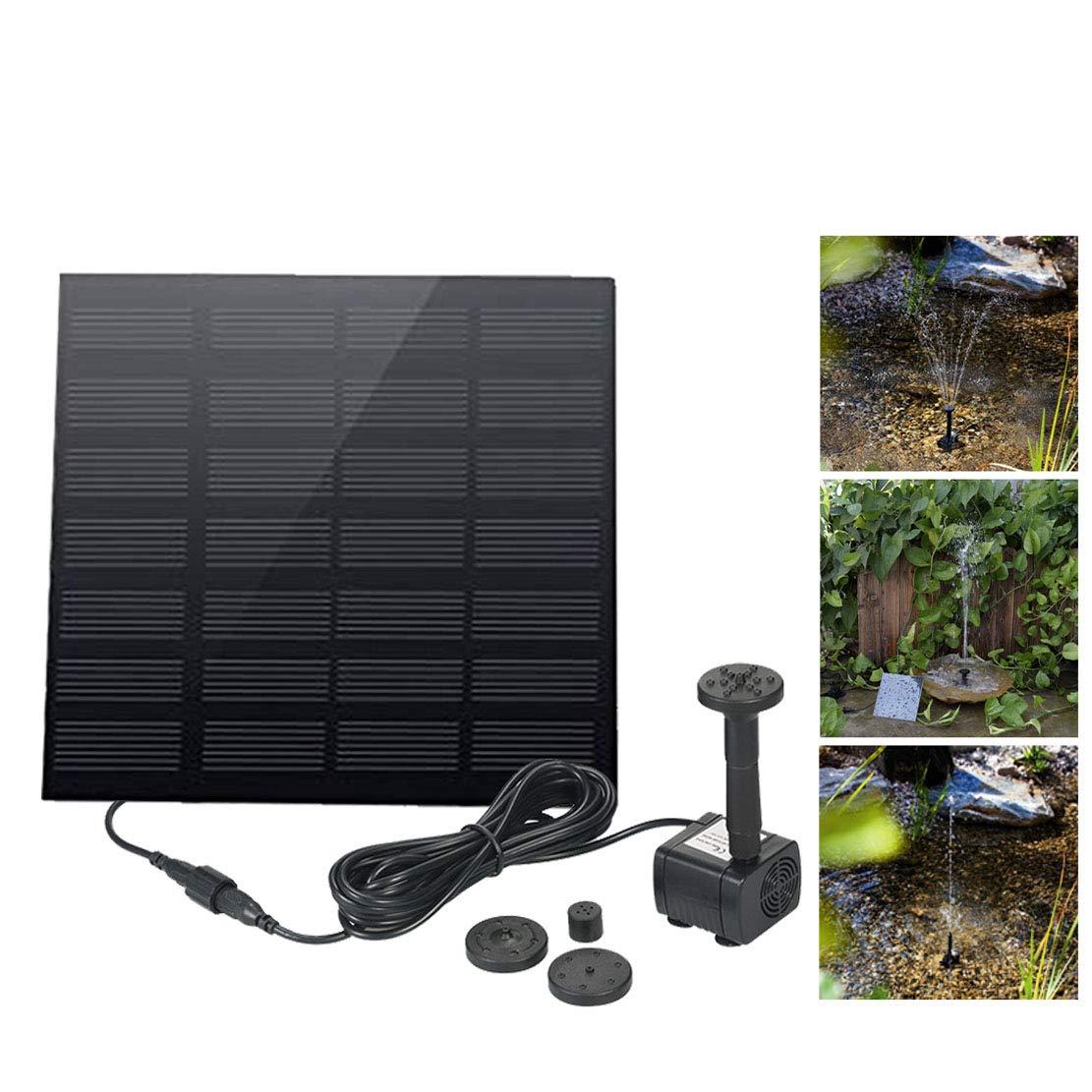 LY-LD Fuente Solar Libre de pie 1,2 W pájaro Fuente de baño Bomba para jardín y Patio, Kit de Panel Solar Bomba de Agua
