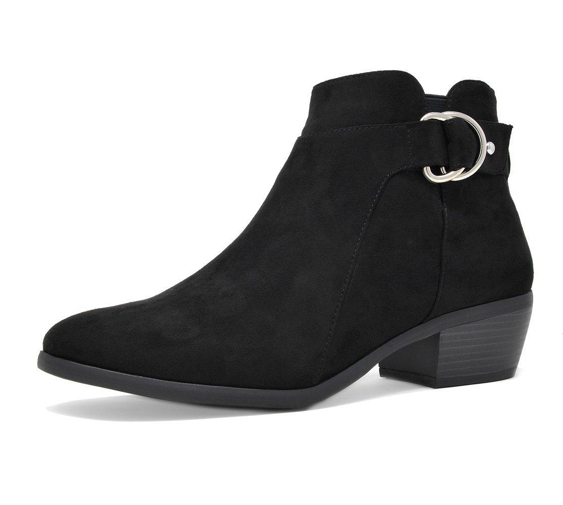 TOETOS Women's Boston-03 Black Suede Block Heel Side Zipper Ankle Booties Size 10 M US