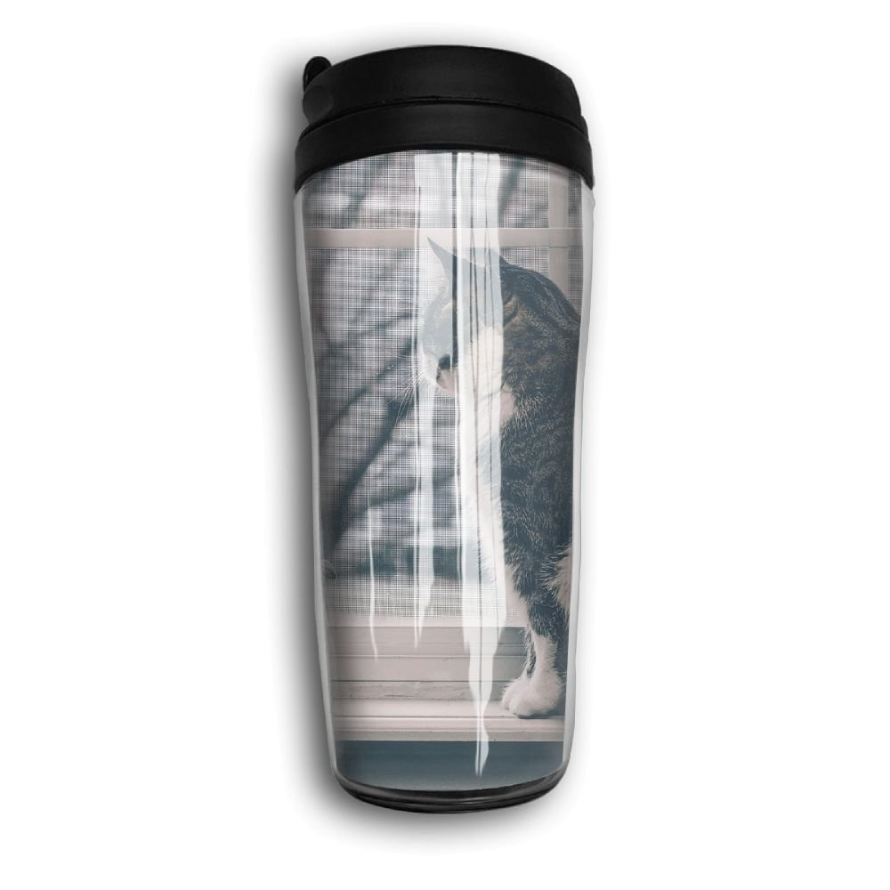 Cat Sit Window Travel Mug Coffee Thermos Stainless Steel Flask Water Bottle