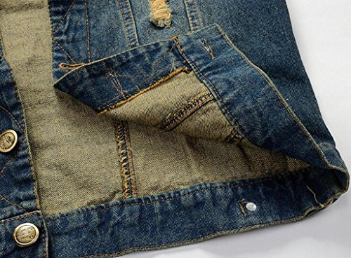 11cd2d0602ed7 WAWAYA Mens Cutoff Retro Ripped Jean Coat Denim Vest Jacket Waistcoat at  Amazon Men s Clothing store
