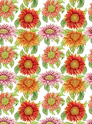 1950 Floral Sunflower Wallpaper - 190231 - Choose Ceramic or Glass Decal - Choose from 3 Different Sizes