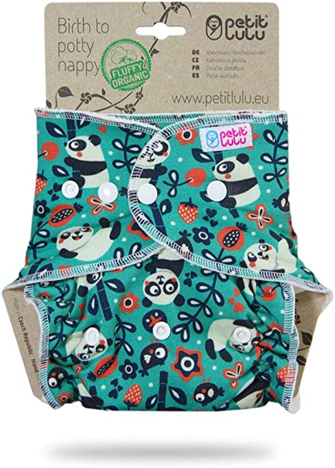 Polar Bear Snaps| Reusable /& Washable Made in Europe Petit Lulu Bamboo Fitted Maxi-Night Diaper