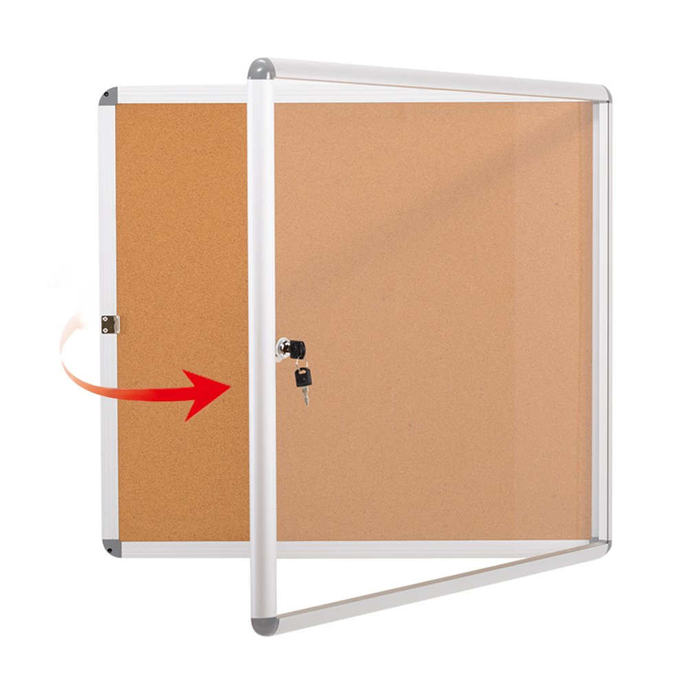 SwanSea Lockable Noticeboard Bulletin Pin Cork Boards Tamper proof with Mounting Screws 28×26 inch (6xA4)