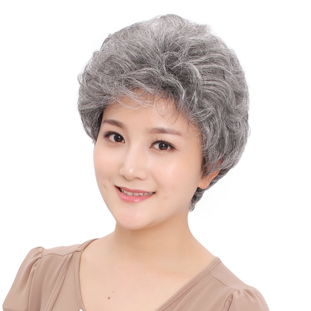 Amazon.com   GOOACTION Short Curly Silver Gray Old Woman Wigs Fluffy  Synthetic Hair Wigs Middle Aged Women Mom For Elderly Women Granny Gray  Office Lady   ... b4ff8bd4d2