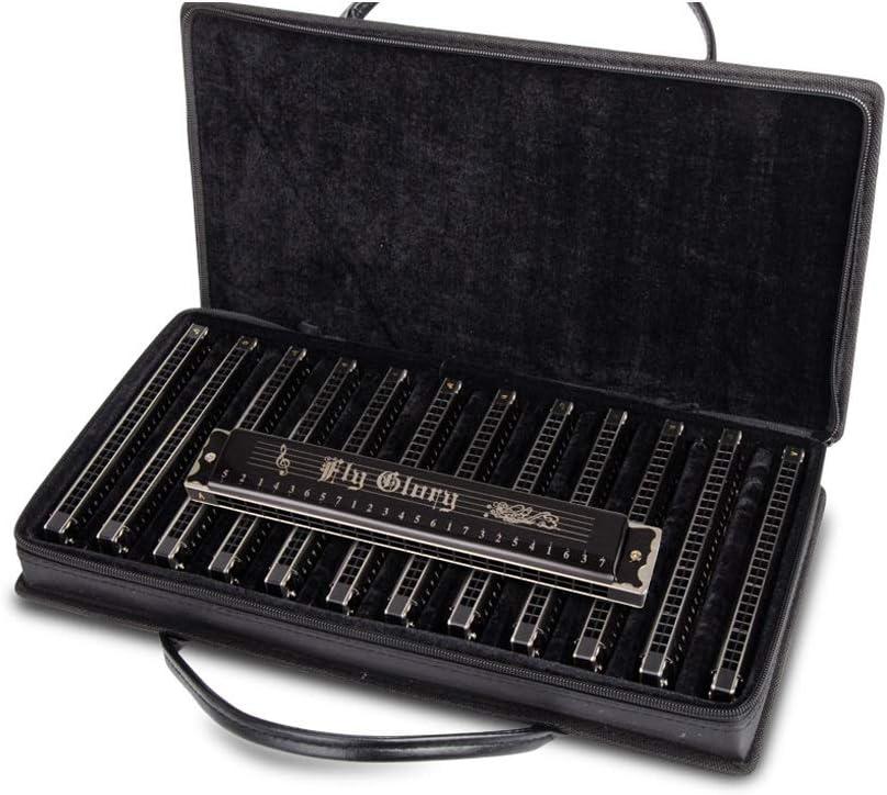 MUZIWENJU - Armónica de trémolo de 24 agujeros, juego profesional de 7 tonos y 12 tonos, caja de regalo, rendimiento, buena opción para los últimos modelos de competición, 12 melodías