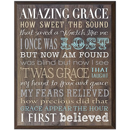 Amazing Grace Gift for husband wife Parents, best friend, and Christian gift ideas 12 Inches Wide X 15 Inches High Wall Plaque By Dayspring Milestones (Walnut)