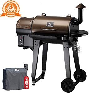 Z GRILLS ZPG-450A 2019 Upgrade Model Wood Pellet Grill & Smoker, 6 in 1 BBQ Grill Auto Temperature Control, 450 sq inch Deal Bronze & Black Cover Included