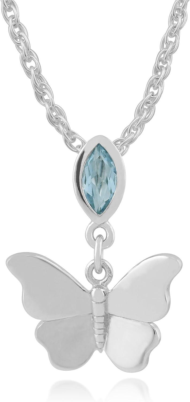 Gemondo de Mujer 375 Oro 9CT Oro Blanco Marquesita Topacio Colgante de Mariposa Collar Azul 45cm