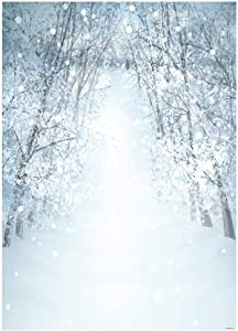 Funnytree 5x7ft White Snow Winter Tree Road Photography Backdrop Bokeh Wonderland Background Snowflake Glitter Newborn Baby Portrait Photobooth Banner Party Decorations Photo Studio Props
