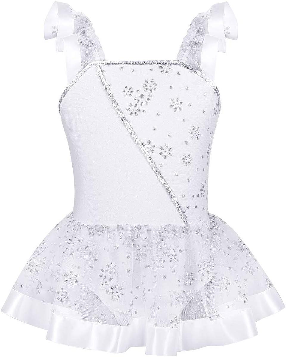 ranrann Girls Flutter Sleeves Shiny Sequins Ballet Dance Leotard Flower Glitters Gymnastic Jumpsuit Tutu Dress