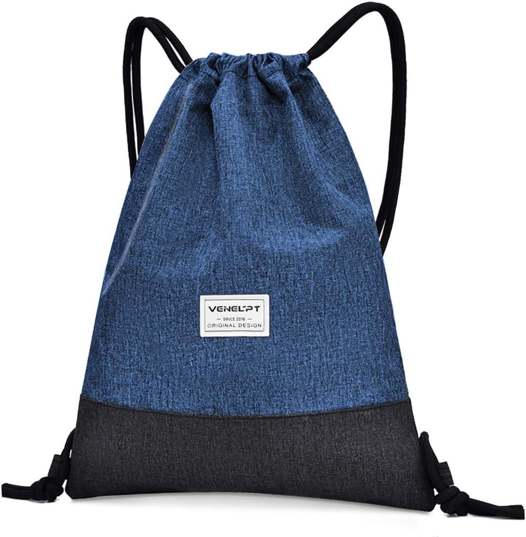 Bluelves Mochila de Cuerdas, Mujer Hombre Bolsas de Cuerdas, Impermeable Gimnasio Deporte Drawstring Backpack, Ajustable Correas de Hombros Gym Bag