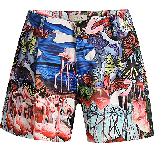 SSLR Women's Flamingos High Waist Casual Hawaiian Shorts (28, Multicolor)