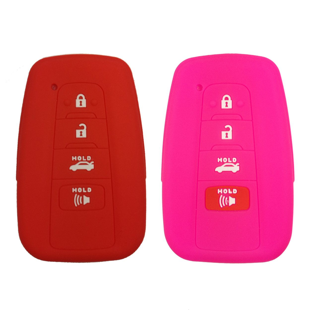 Coolbestda 2Pcs Rubber 4buttons Key Fob Cover Protector Case Keyless Entry Holder Skin Jacket for 2018 Toyota Camry C-HR Prius HYQ14FBC Rose Red by Coolbestda