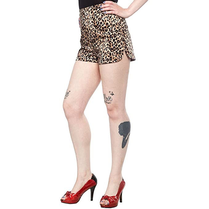 1950s Shorts Womens Sourpuss Leopard Sweetie Pie Shorts  AT vintagedancer.com