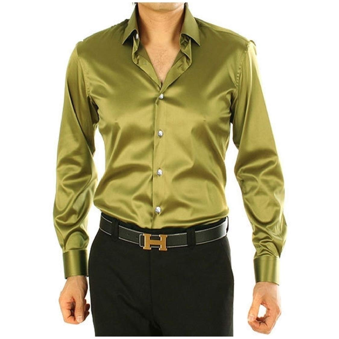 Fieer Mens Pure Color Satin Charmeuse Plus Size Skinny Work Shirt